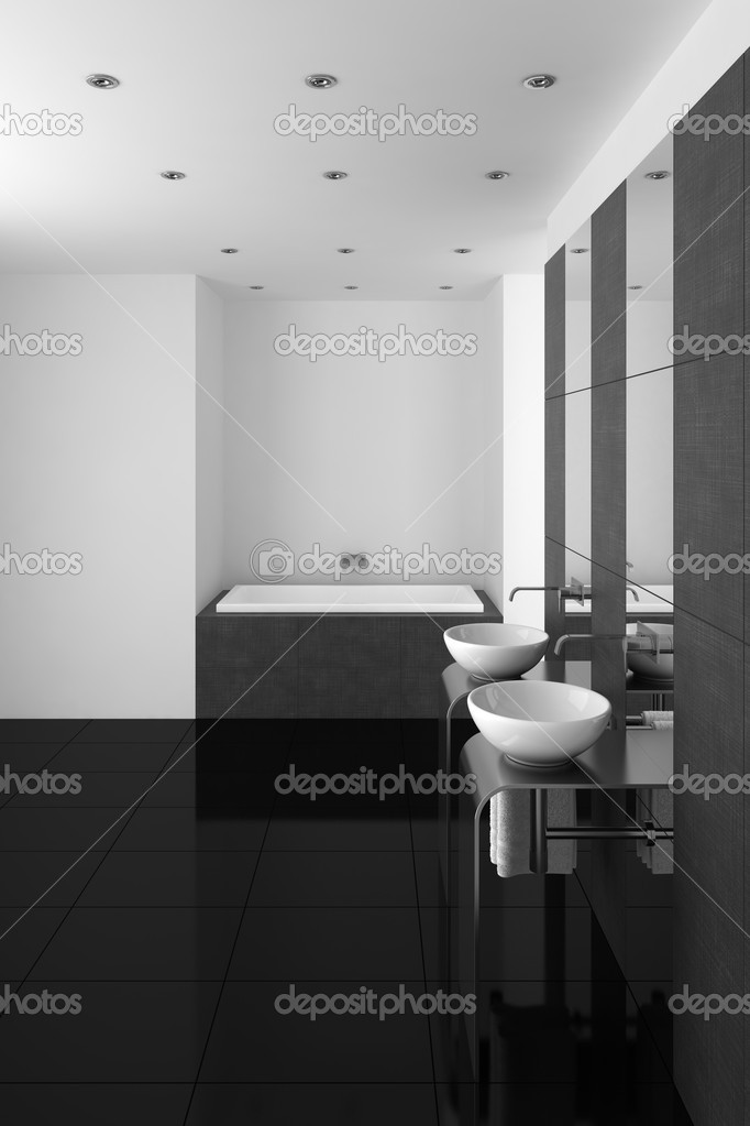 Modernes Badezimmer mit Doppel-Waschbecken und schwarzer ...