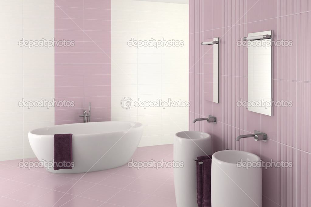 viola moderno bagno con doppio lavabo e vasca da bagno ? foto ... - Bagni Moderni Con Doppio Lavabo