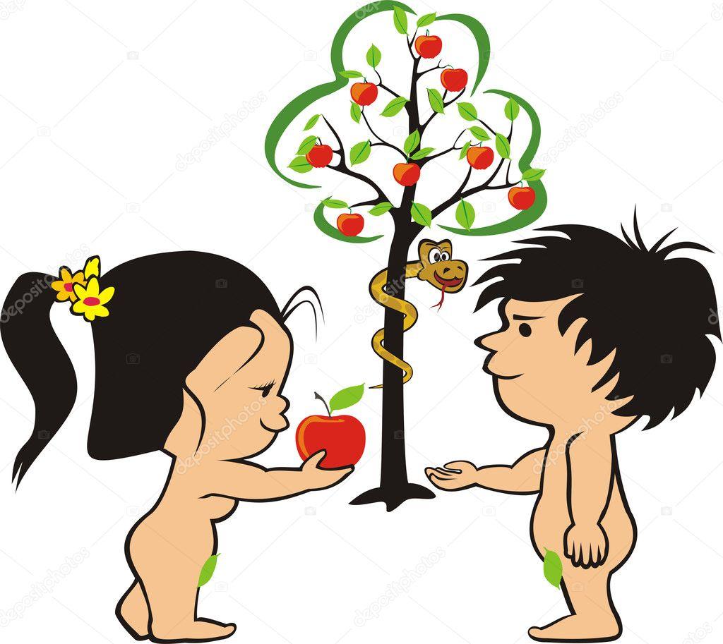 Adán, Eva y la serpiente en el jardín del Edén — Vector de stock ...