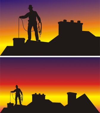 Dangerous work at height - cleaning chimneys stock vector
