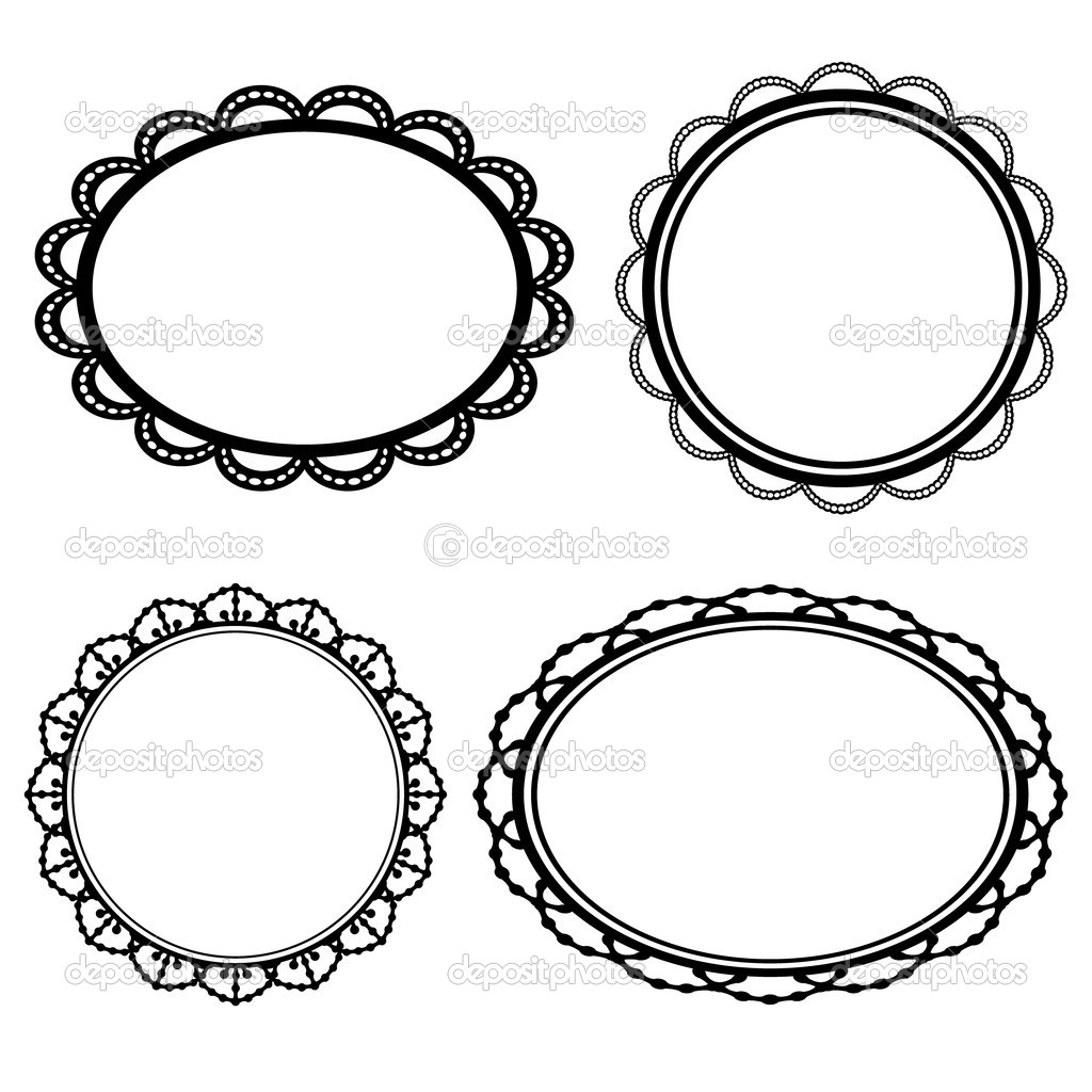 Set frame oval lace black silhouette