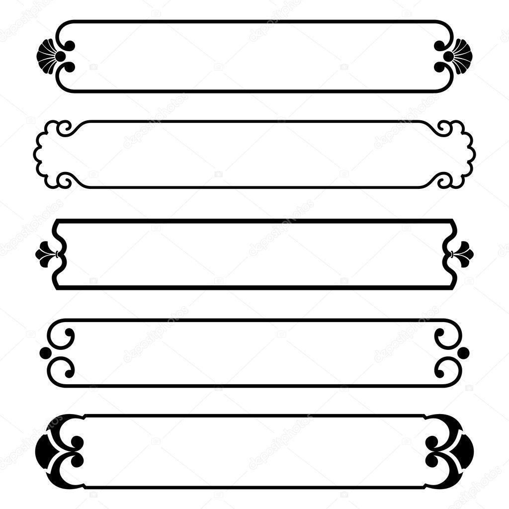conjunto de Marco banderas negras simple frontera — Vector de stock ...