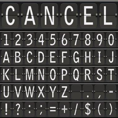 Vector alphabet set. mechanical timetable letters