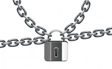 Vector metal chain and lock