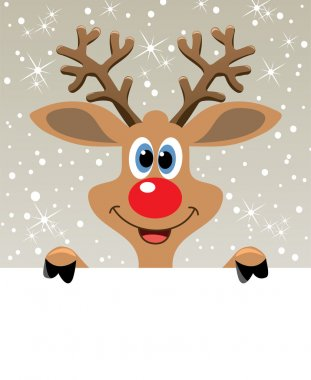 Vector red nosed reindeer holding blank paper