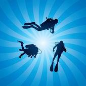 Vector scuba divers underwater