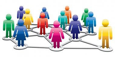 Vector symbols of men and women forming network