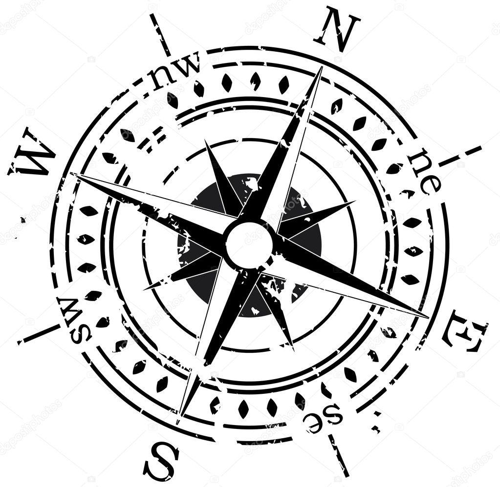 Grunge vector compass