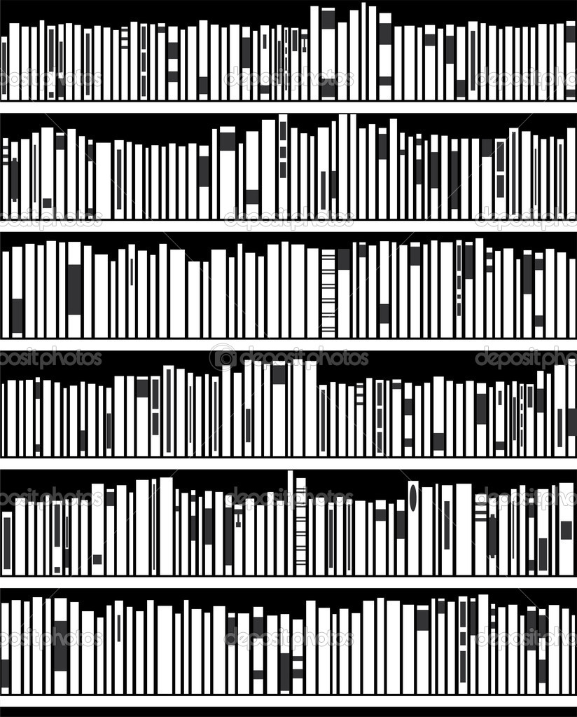Vector Abstract Black And White Bookshelf Stock