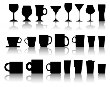 Vector set of cups, mugs, wineglasses