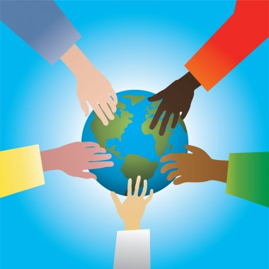 Vector illustration of five hands touching earth clip art vector