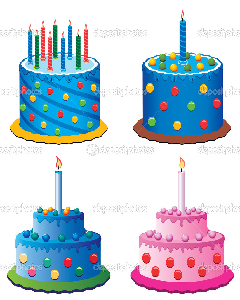 Vector birthday cakes Stock Vector dmstudio 8835361