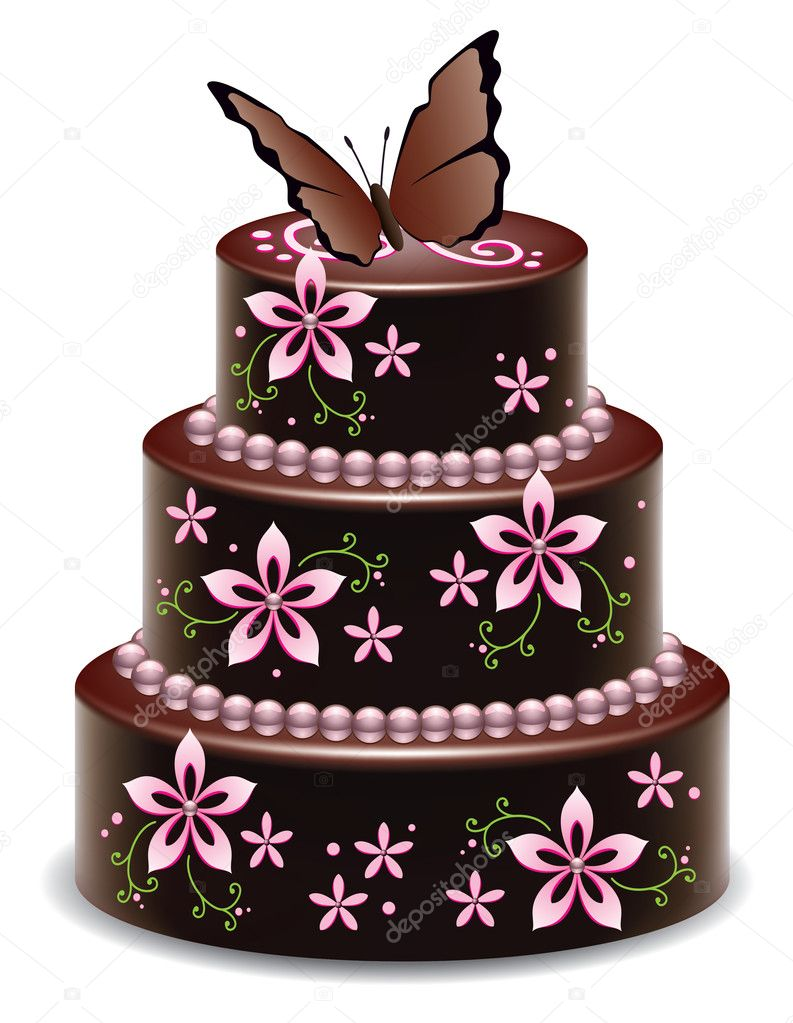 Vector big chocolate cake with flowers and butterfly ...