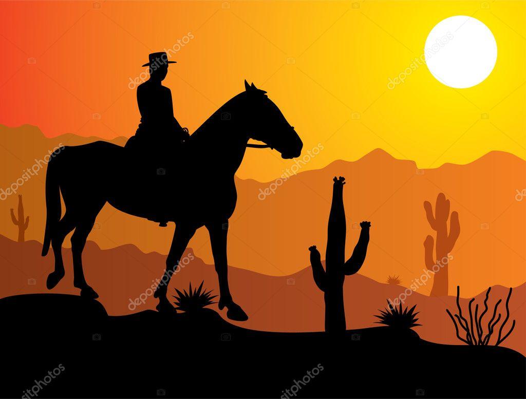 Vector man on the horse in desert
