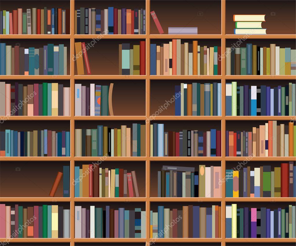 Interior wooden shelves free vector - Vector Wooden Bookshelf Stock Illustration