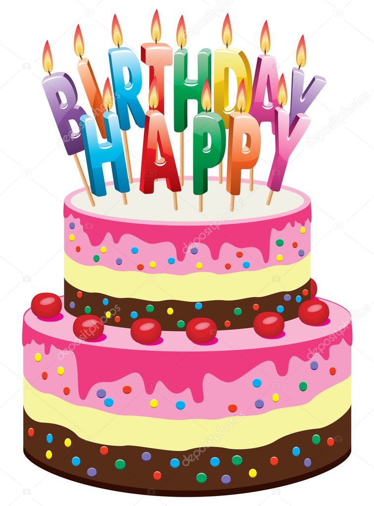 Vector birthday cake — Stock Vector © dmstudio #9688754