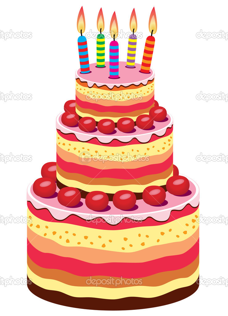 Vector birthday cake — Stock Vector © dmstudio #9704980