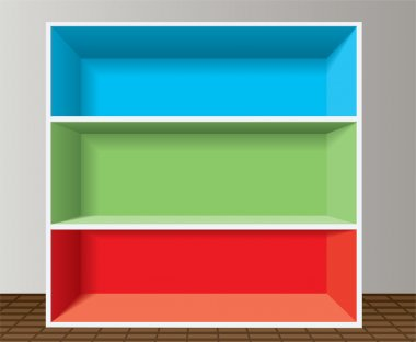 Vector colorful empty bookshelf