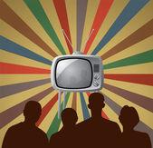Fényképek Vektor család néz retro tv beállítása