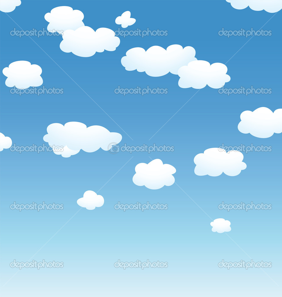 Vector background with clouds in the sky