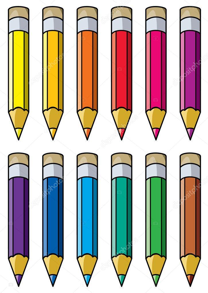 vector colorful pencils clipart stock vector dmstudio 9859170 rh depositphotos com pencil clip art for teachers pencil clip art images