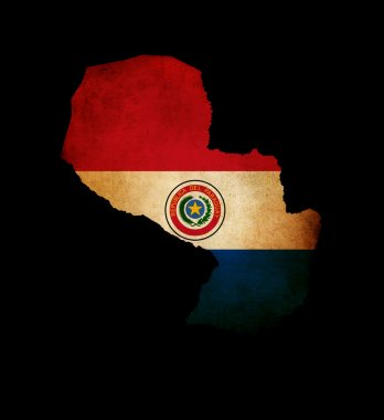 Outline map of Paraguay with grunge flag insert isolated on blac