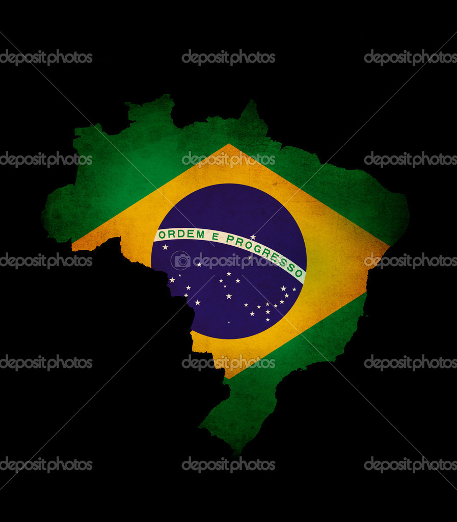 Outline map of Brazil with grunge flag insert isolated on black