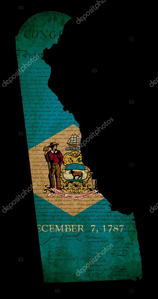 USA American Delaware State Map Outline With Grunge Effect Flag - Delaware usa map
