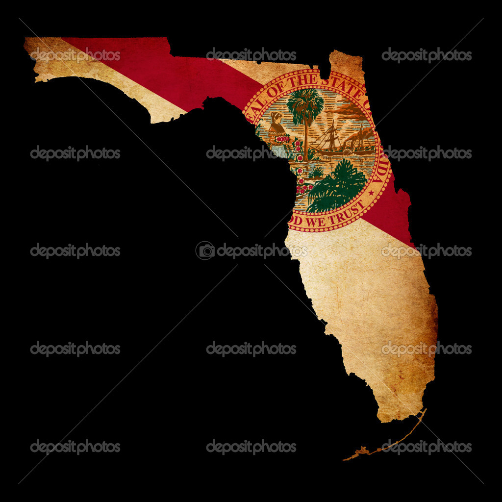 usa american florida state map outline with grunge effect flag stock photo