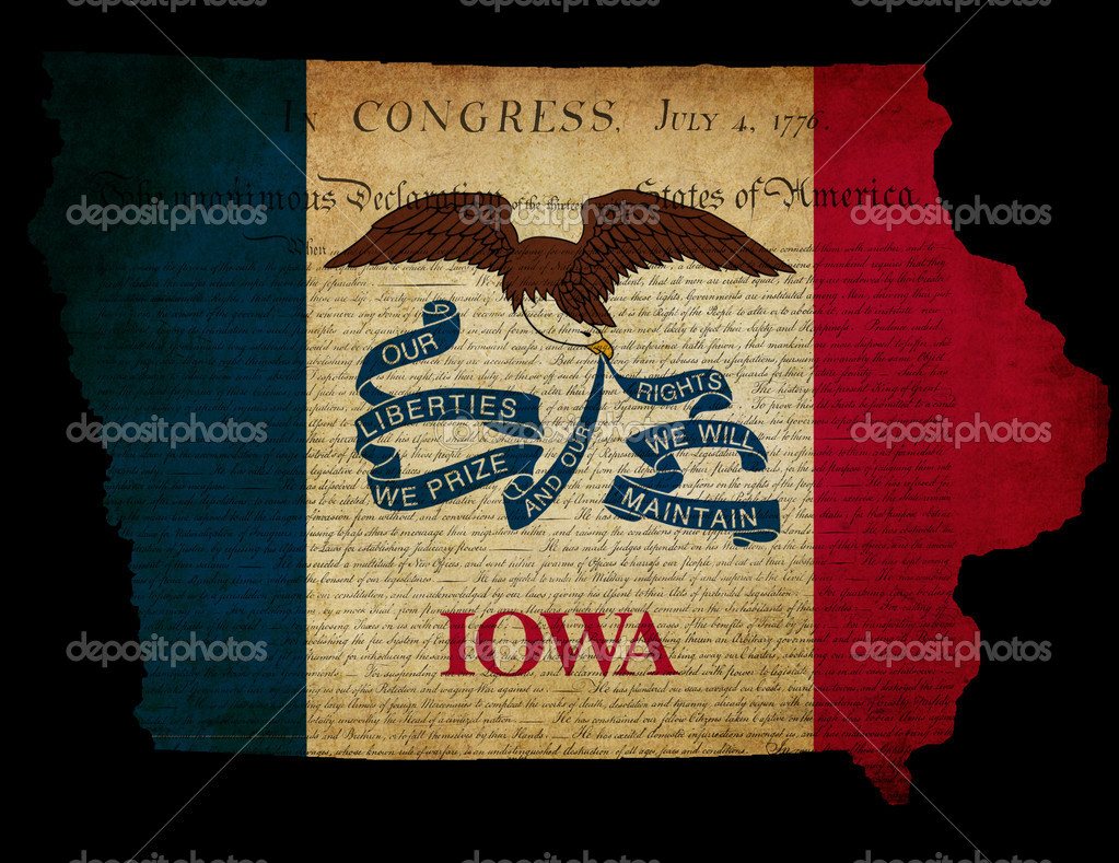USA American Iowa State Map Outline With Grunge Effect Flag And - Iowa state in usa map