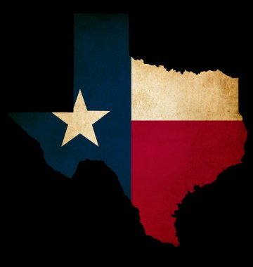 USA American Texas State Map outline with grunge effect flag