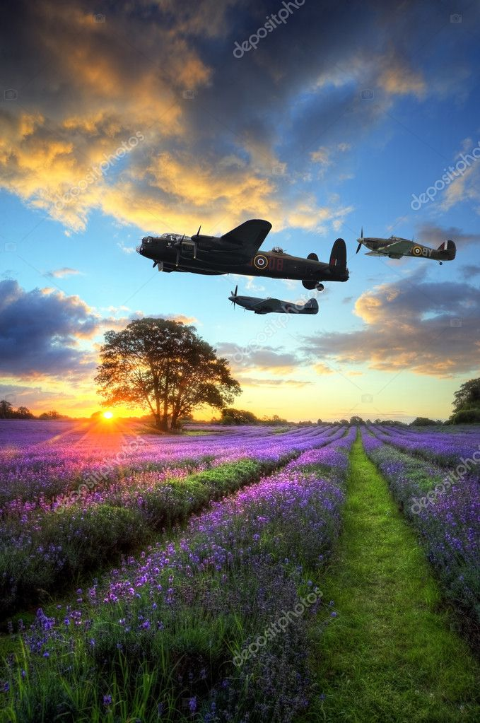 World War 2 RAF airplanes flying at sunset over vibrant lavender