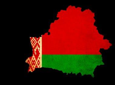 Belarus grunge map outline with flag
