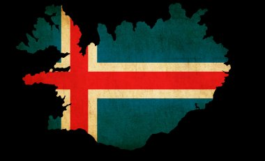 Iceland grunge map outline with flag