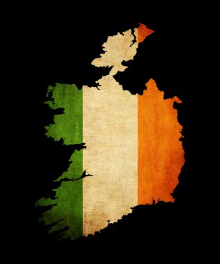 Ireland grunge map outline with flag