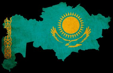 Kazakhstan grunge map outline with flag