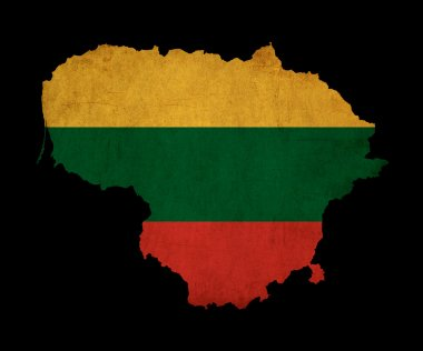 Lithuania grunge map outline with flag