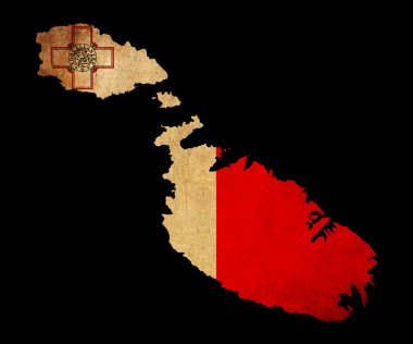 Malta grunge map outline with flag