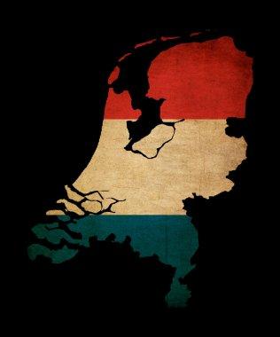 Netherlands grunge map outline with flag