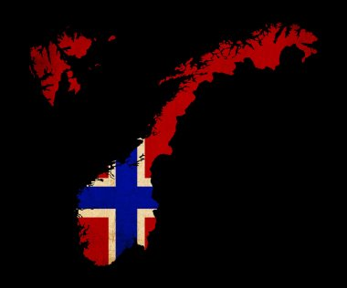 Norway grunge map outline with flag