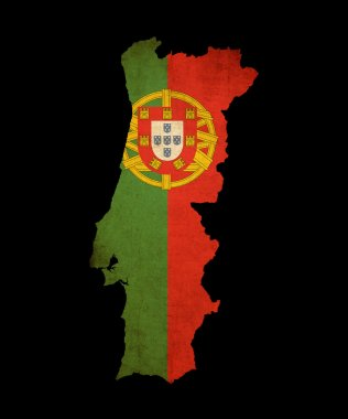 Portugal grunge map outline with flag