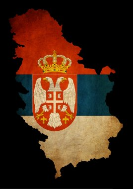 Serbia grunge map outline with flag