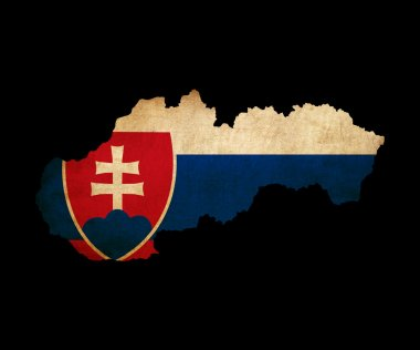 Slovakia grunge map outline with flag