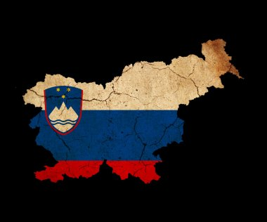 Slovenia grunge map outline with flag