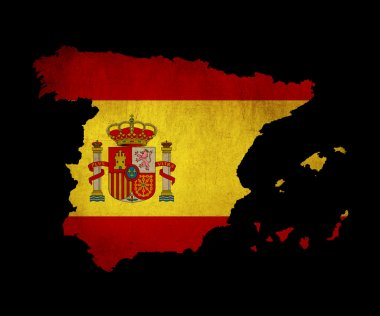 Spain grunge map outline with flag
