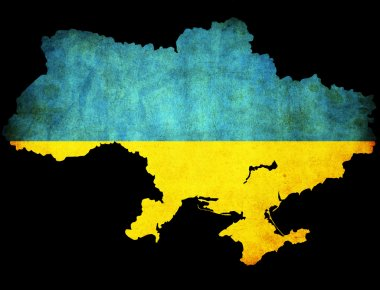 Ukraine grunge map outline with flag