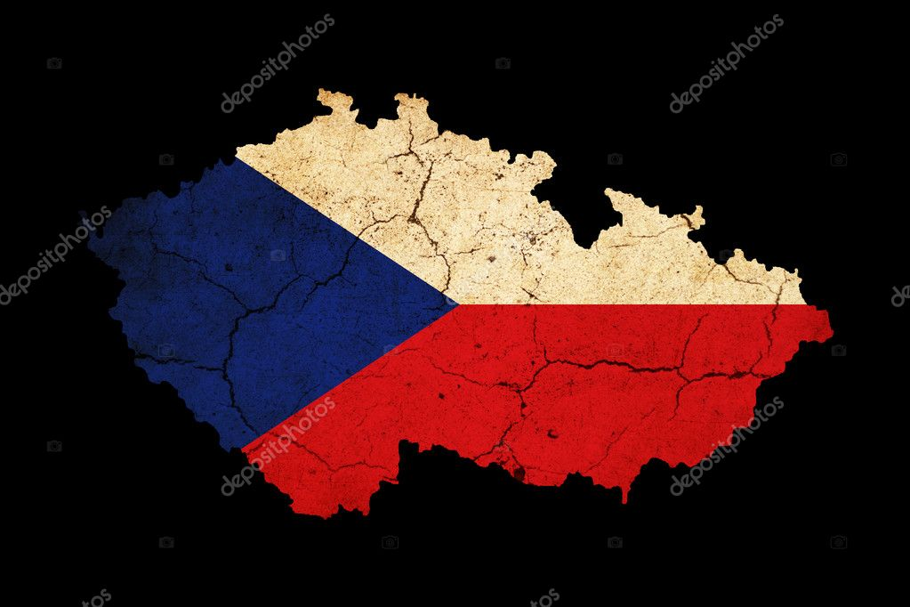 Czech Republic grunge map outline with flag