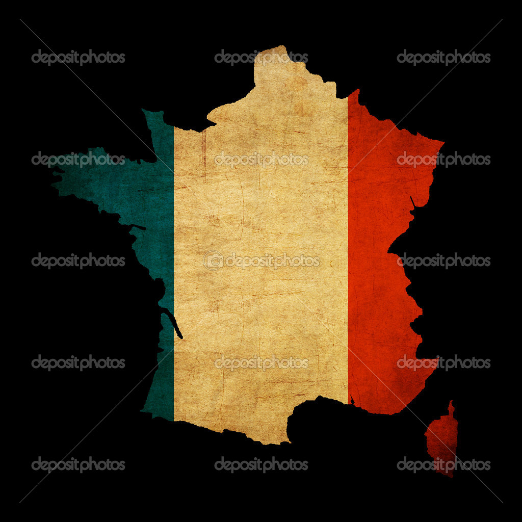 France grunge map outline with flag