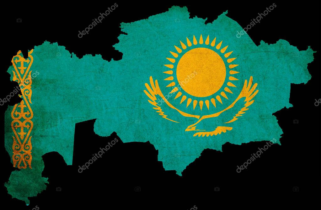 Kazakhstan grunge map outline with flag
