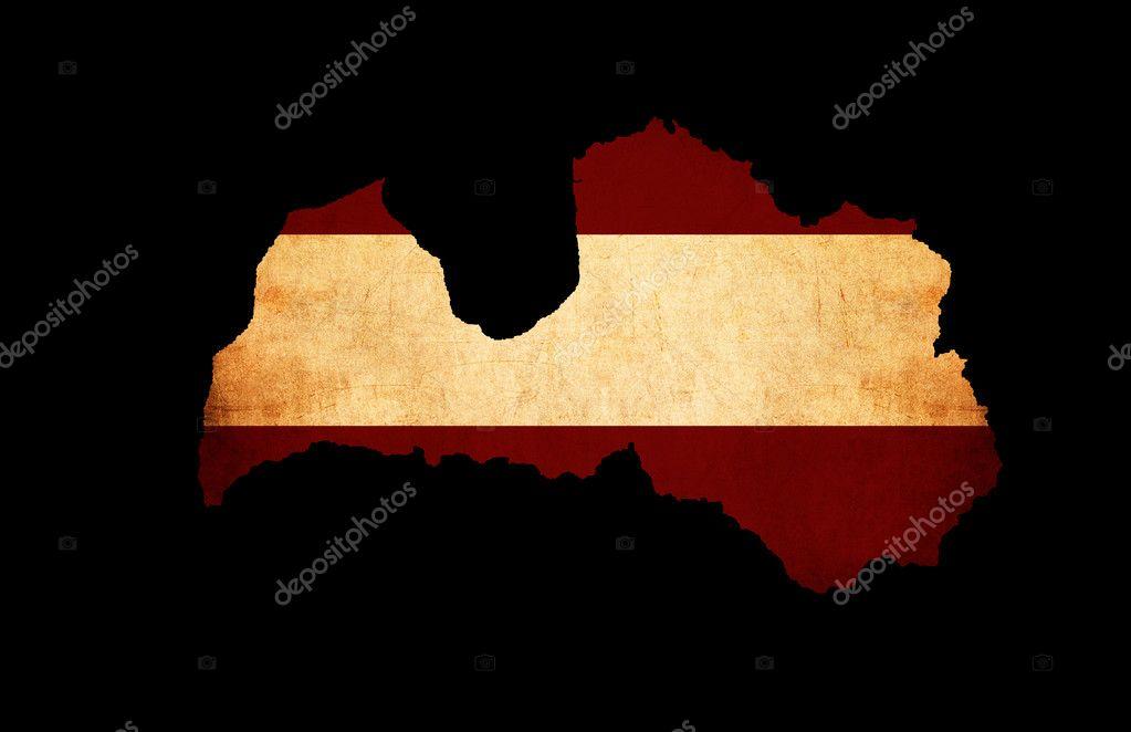 Latvia Grunge Map Outline With Flag Stock Photo Veneratio - Latvia map outline